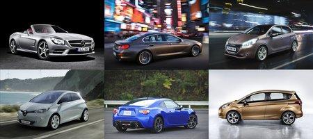 Quelques nouveautés 2012, dans le sens des aiguilles d'une montre : Mercedes SL, BMW Série 6 GrandCoupé, Peugeot 208, Ford B-Max, Subaru BRZ et Renault Zoé