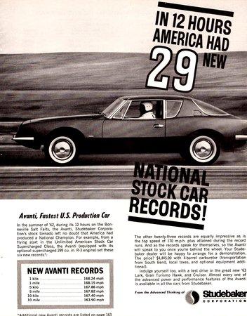 Publicité vantant les records de vitesse battus par l'Avanti