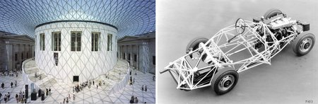 Le British Museum (photo © Foster+Partners) et la Mercedes 300 SL