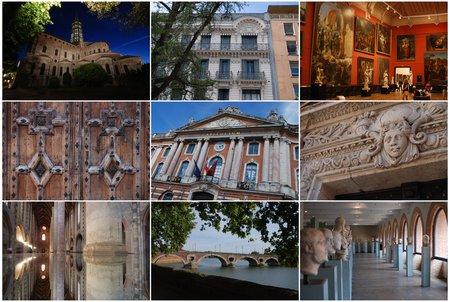 Toulouse, avec de gauche à droite et de haut en bas : Saint-Sernin, une belle façade, le Musée des Augustins, un joli portail, le Capitole, un bas-relief de l'Hôtel d'Assézat, les Jacobins, le Pont Neuf et la Garonne, le Musée Saint-Raymond. © Vincent Desmonts