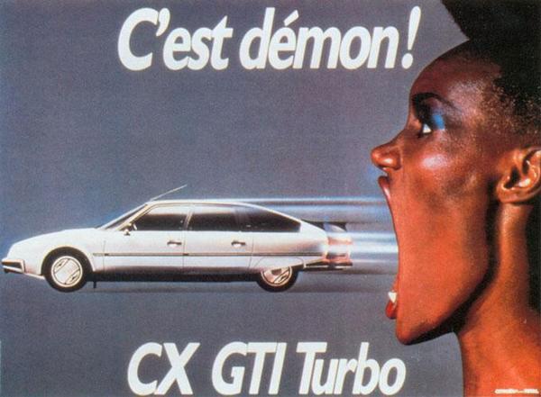 Publicité Citroën CX par Jean-Paul Goude, avec Grace Jones (1984)
